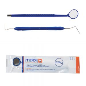 single use Periodontal 2 Piece Examination Kit with Ball Tip Probe used in diagnostic dental procedures