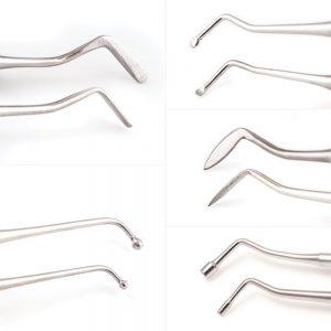 single use Flat Plastic, Ball Burnisher, Medium Spoon Excavator, Carver, Amalgam Plugger five piece dental restorative instrument kit