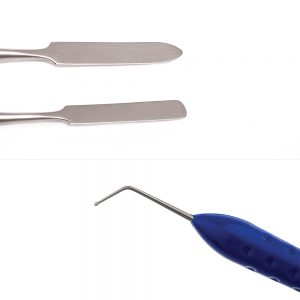 single use spatula and dycal applicator two piece dental restorative instrument kit