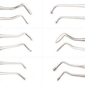 single use Flat Plastic, Ball Burnisher, Medium Spoon Excavator (1.8mm), Carver, Ladmore Plugger, Amalgam Plugger six piece dental restorative instrument kit