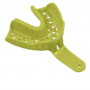 Single-use plastic impression trays with integrated handle. Constructed from rigid, recyclable ABS for accurate, comfortable and distortion free impressions.
